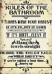 Rules Of The Bathroom large steel sign 400mm x 300mm  (og)